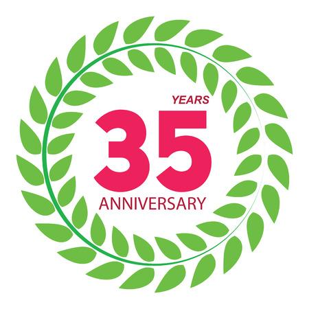 selebration: Template Logo 35 Anniversary in Laurel Wreath Vector Illustration EPS10