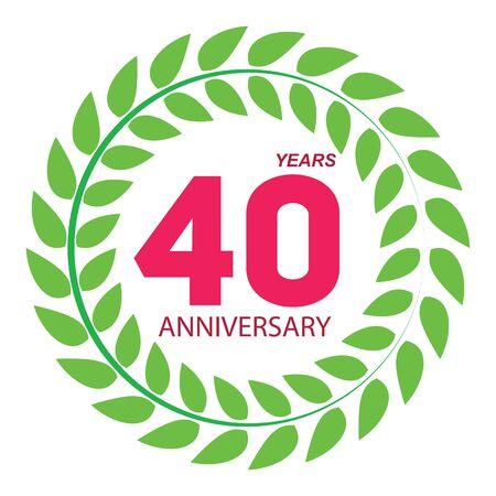 selebration: Template Logo 40 Anniversary in Laurel Wreath Vector Illustration EPS10 Illustration