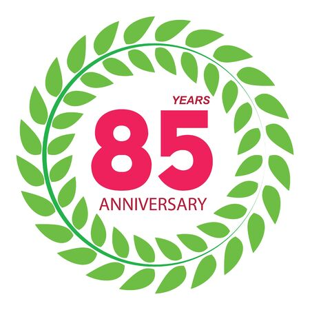 selebration: Template Logo 85 Anniversary in Laurel Wreath Vector Illustration EPS10