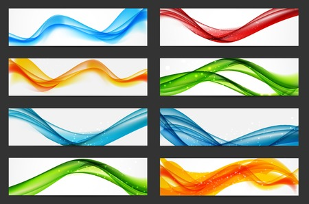 header background: Abstract Colored Wave Header Background Set. Vector Illustration. EPS10 Illustration