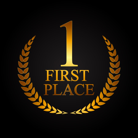 achievement clip art: First Place Laurel Design Label Vector Illustration EPS10