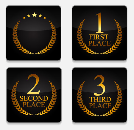 achievement clip art: First, Second and Third Place Laurel Design Label Vector Illustration EPS10