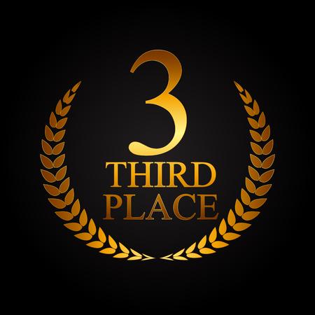 gold metal: Third Place Laurel Design Label Vector Illustration EPS10
