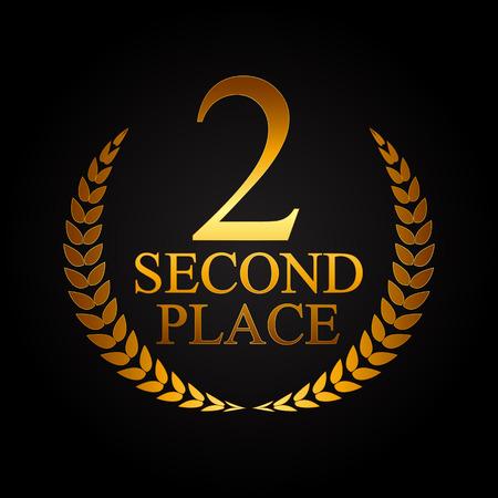 second place: Second Place Laurel Design Label Vector Illustration EPS10