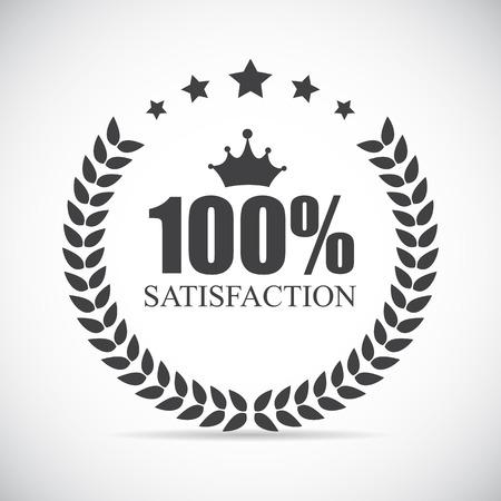 hundred: 100 % Satisfaction Label Vector Illustration Eps10