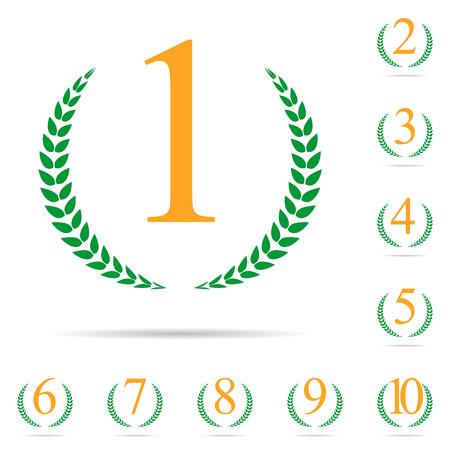 Desde el principio hasta diez posiciones Laurel diseño de etiquetas Conjunto de ilustración vectorial
