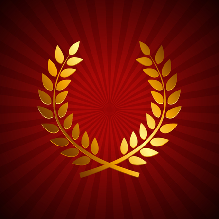 laurel leaf: Gold Award Laurel Wreath. Winner Leaf label,  Symbol of Victory. Vector Illustration