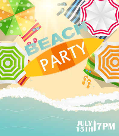beach party: Beach Summer Party Poster Vector Illustration Illustration