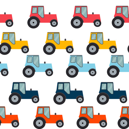 Ftat Tractor Seamless Pattern Background Vector Illustration
