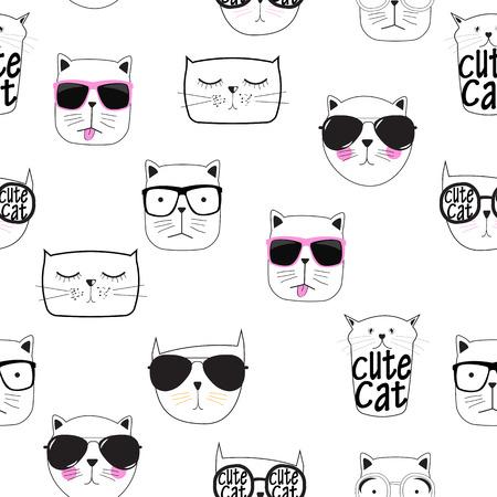 Cute Handdrawn Cat Seamless Pattern Vector Illustration