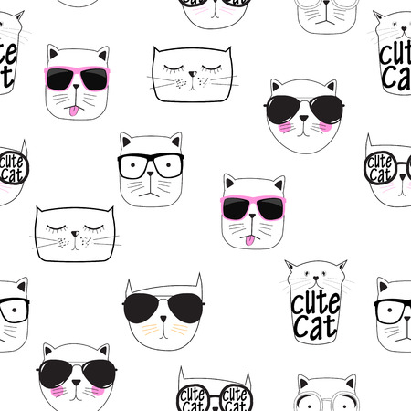 Cute Handdrawn Cat Seamless Pattern Vector Illustration