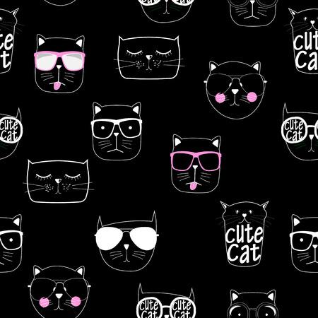 Cute Handdrawn Cat Seamless Pattern Vector Illustration 矢量图片