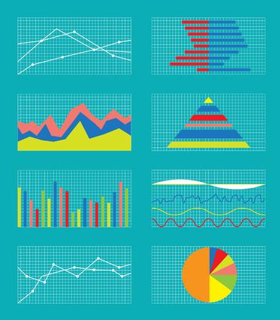 ESTADISTICAS: Conjunto de gráficos y tablas. Datos y Estadística, informativos Infografía. Ilustración del vector.