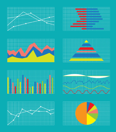statistics: Set of Graphs and Charts. Data and Statistic, Informative Infographics. Vector Illustration. Illustration