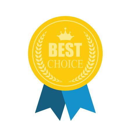 Best Choice Modern Icon. Art Flat Premium Quality Medal Icon for Web. Medal icon app. Medal icon best. Medal icon sign. Medal icon Premium Quality Gold. Vector Illustration