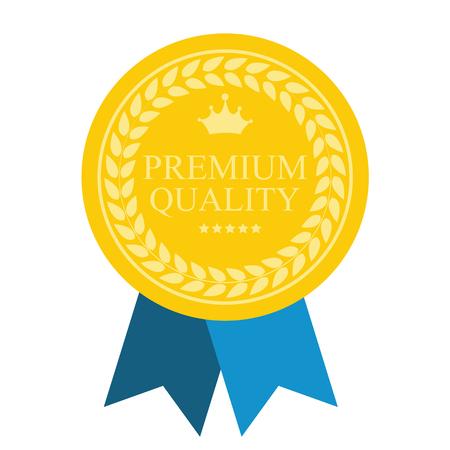 Art Flat Premium Medal Jakości Ikona sieci. Medal ikona aplikacji. Medal ikonę najlepsze. Medal ikona znak. Medal ikonę Premium Quality złota. Ilustracja wektorowa