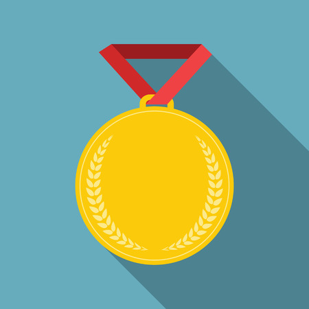 1 place: Art Flat Medal Icon Template for Web. Medal icon app. Medal icon best. Medal icon sign. Medal icon 1 First Place Gold. Vector Illustration