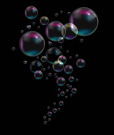 thirst: Transparent Bubbles on Black Background. Vector Illustration. EPS10