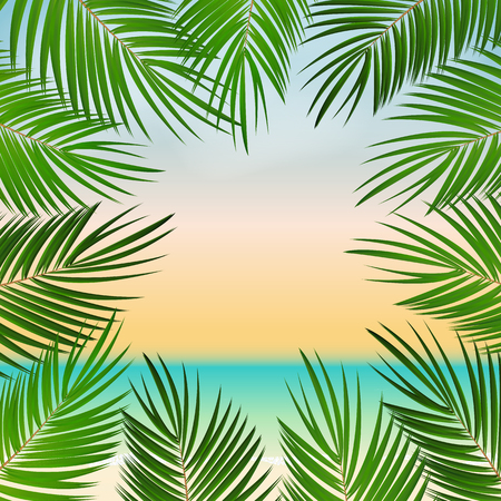tropical beach: Summer Time Palm Leaf Seaside Vector Background Illustration EPS10