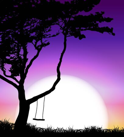 over the hill: Silhouette of Tree on Sunset Background. Vector Illustration EPS10 Illustration