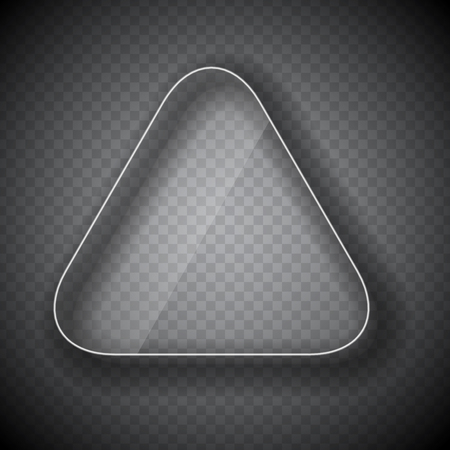 triangle button: Glass Frame, Triangle  Button on Checkered  Abstract Transparent Background. Vector Illustration. EPS10