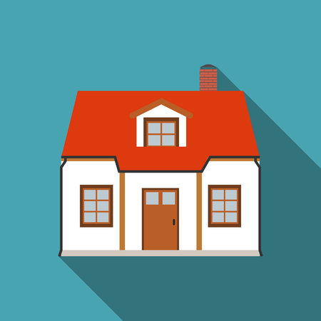 ownership: Flat House Icon with Long Shadow Vector Illustration EPS10