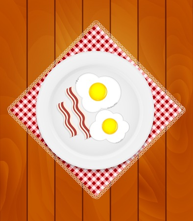 character traits: White Plate with Fried Eggs on Kitchen Napkin at Wooden Boards Background Vector Illustration EPS10 Illustration