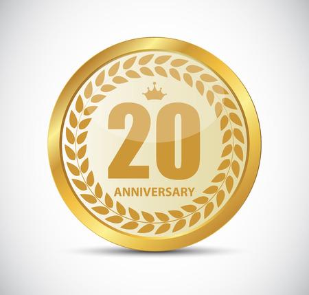 selebration: Template Logo 20 Years Anniversary Vector Illustration EPS10