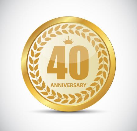 selebration: Template Logo 40 Years Anniversary Vector Illustration EPS10