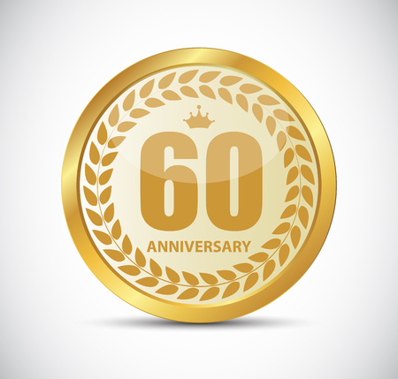 60 years: Template Logo 60 Years Anniversary Vector Illustration EPS10