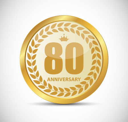 80 years: Template Logo 80 Years Anniversary Vector Illustration EPS10