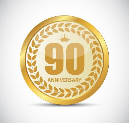 90 years: Template Logo 90 Years Anniversary Vector Illustration EPS10 Illustration