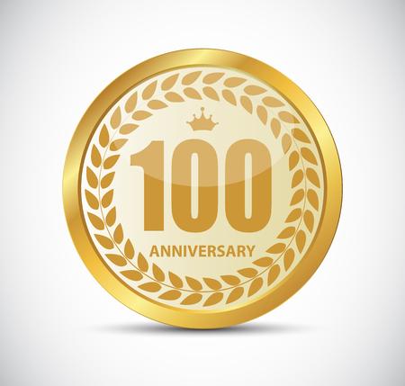 hundred: Template Logo 100 Years Anniversary Vector Illustration EPS10