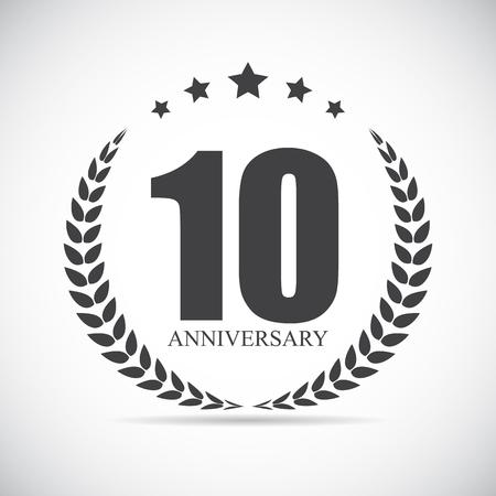 Plantilla Logotipo 10 años de aniversario ilustración vectorial EPS10 Foto de archivo - 56502351