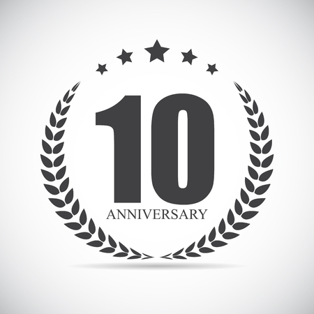 Sjabloon Logo 10 Years Anniversary Vector Illustration EPS10 Stock Illustratie
