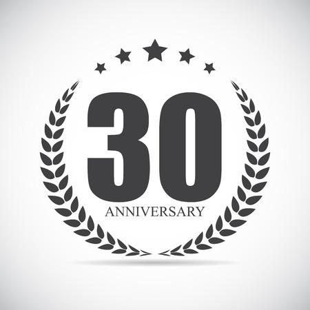 Template Logo 30 Years Anniversary Vector Illustration EPS10