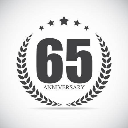 65: Template Logo 65 Years Anniversary Vector Illustration EPS10 Illustration