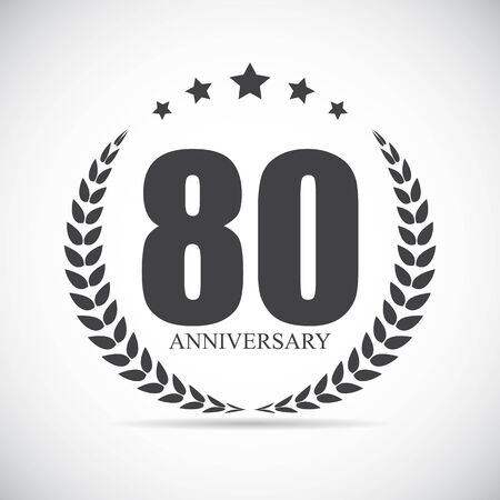 selebration: Template Logo 80 Years Anniversary Vector Illustration EPS10