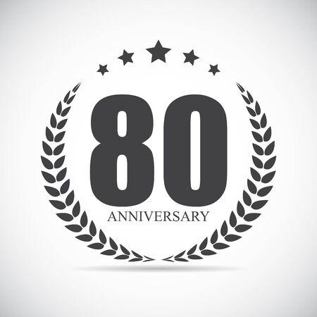 80 years: Template Logo 80 Years Anniversary Vector Illustration EPS10