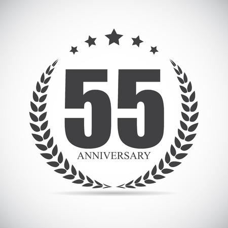 selebration: Template Logo 55 Years Anniversary Vector Illustration EPS10 Illustration
