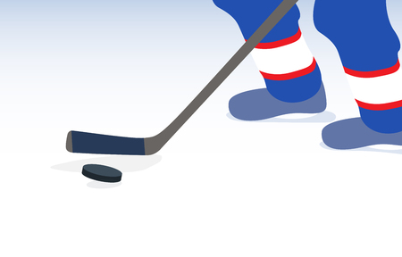 ice hockey player: Ice Hockey Player with Stick and Puck. Vector Illustration. EPS10 Illustration