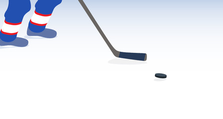 puck: Ice Hockey Player with Stick and Puck. Vector Illustration. EPS10 Illustration