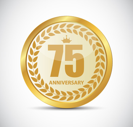selebration: Template Logo 75 Years Anniversary Vector Illustration EPS10
