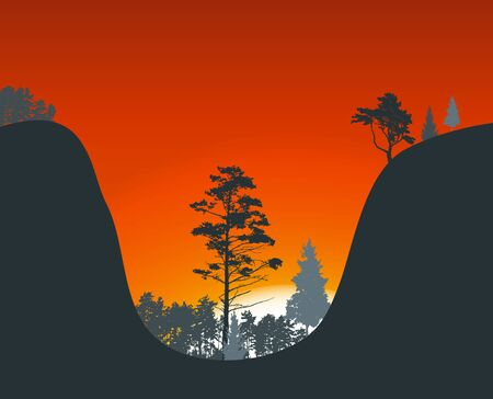 horizon over land: Silhouette of Tree on Sunset Background. Vector Illustration EPS10 Illustration