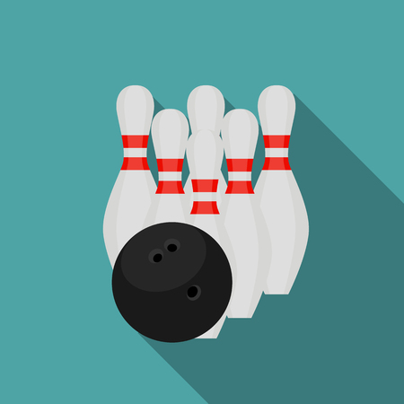 skittles: Skittles and Bowling Ball Flat Style Icon with Long Shadow Vector Illustration