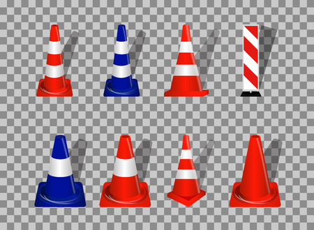 guardrails: Set of Road signs. Orange and Blue Badge guardrails on transparent background. Vector Illustration. EPS10