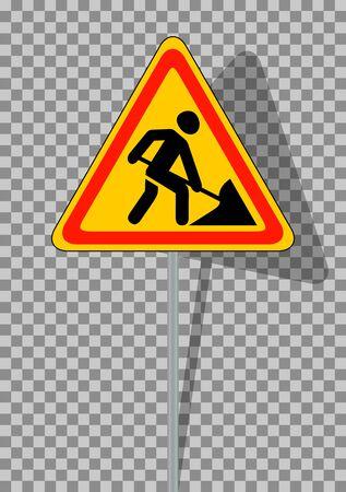 road works ahead: Road signs. Roadworks on transparent background. Vector Illustration. EPS10 Illustration