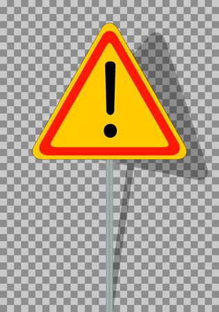 general warning: Road signs. Orange Badge guardrails on transparent background. Vector Illustration. EPS10 Illustration