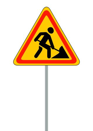 roadworks: Road signs. Roadworks. Vector Illustration on White EPS10