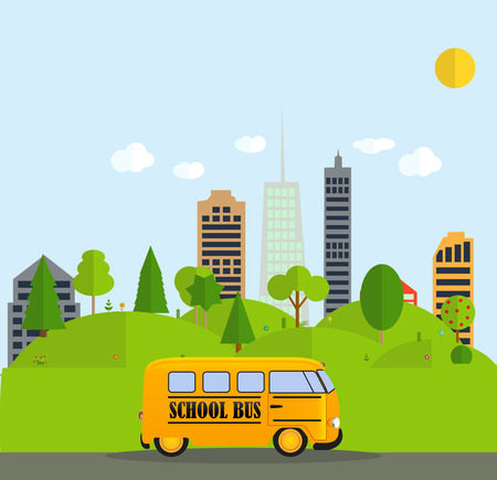 back view student: Back to School Background with Yellow Bus Vector Illustration EPS10
